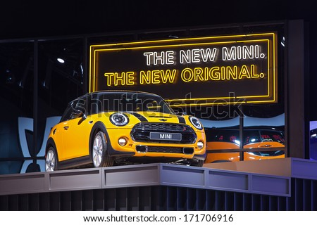 DETROIT - JANUARY 14 : A Mini Cooper on display at the North American International Auto Show media preview  January 14, 2014 in Detroit, Michigan. - stock photo