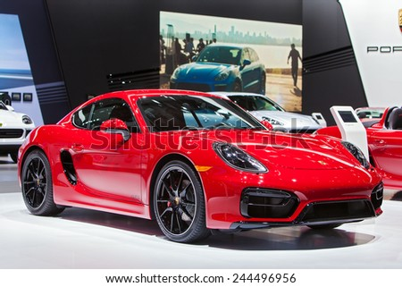 DETROIT - JANUARY 13: A Porsche Cayman GTS on display January 13th, 2015 at the 2015 North American International Auto Show in Detroit, Michigan. - stock photo