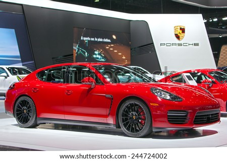 DETROIT - JANUARY 15: A Porsche Panamera GTS on display January 13th, 2015 at the 2015 North American International Auto Show in Detroit, Michigan. - stock photo