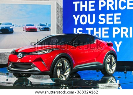 DETROIT - JANUARY 11: A Scion Concept on display at the North American International Auto Show media preview January 11, 2016 in Detroit, Michigan. - stock photo