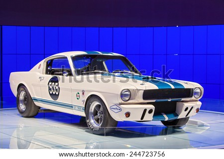 DETROIT - JANUARY 15: A vintage Ford Mustang race car January 13th, 2015 at the 2015 North American International Auto Show in Detroit, Michigan. - stock photo