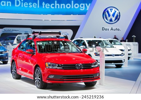 DETROIT - JANUARY 13: A Volkswagen Jetta on display January 13th, 2015 at the 2015 North American International Auto Show in Detroit, Michigan. - stock photo