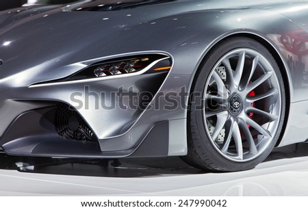 DETROIT - JANUARY 12:Detail of the Toyota FT-1 Concept  January 12th, 2015 at the 2015 North American International Auto Show in Detroit, Michigan. - stock photo