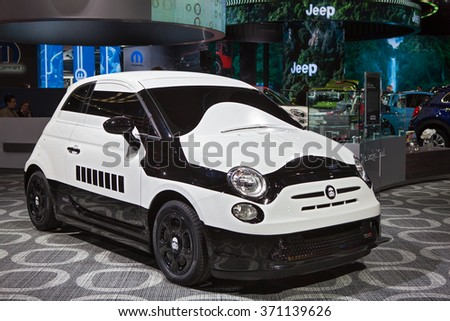 DETROIT - JANUARY 12: Fiat 500e Stormtrooper concept on display at the North American International Auto Show media preview January 12, 2016 in Detroit, Michigan. - stock photo