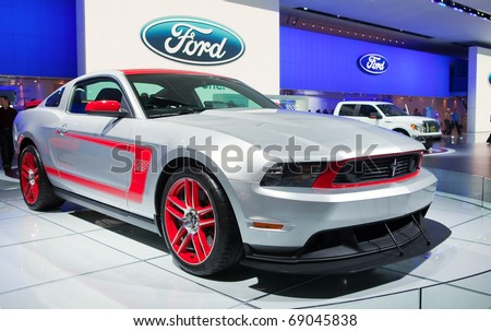 DETROIT - JANUARY 13: Ford Boss 302 Mustang on display at the 2011 North American International Auto Show Industry Preview on January 13, 2011 in Detroit, Michigan. - stock photo