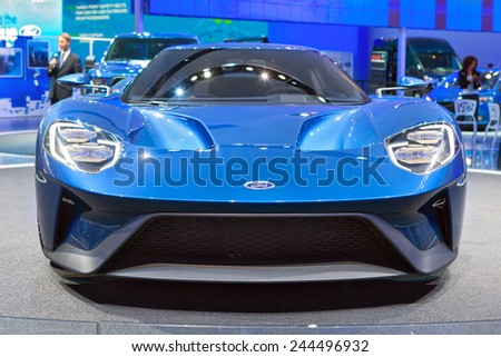 DETROIT - JANUARY 13: Front view of the new Ford GT January 13th, 2015 at the 2015 North American International Auto Show in Detroit, Michigan. - stock photo