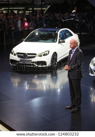 DETROIT - JANUARY 14 : Mercedes Benz Chairman Dieter Zetsche speaks at The North American International Auto Show  January 14, 2013 in Detroit, Michigan. - stock photo