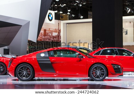 DETROIT - JANUARY 15: Profile of the Audi R8 January 13th, 2015 at the 2015 North American International Auto Show in Detroit, Michigan. - stock photo