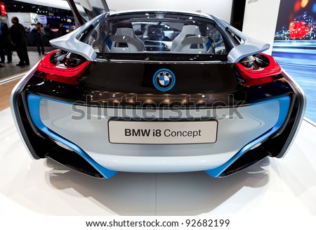 DETROIT - JANUARY 11: Rear view of the BMW i8 electric concept at the 2012 North American International Auto Show Industry Preview on January 11, 2012 in Detroit, Michigan. - stock photo