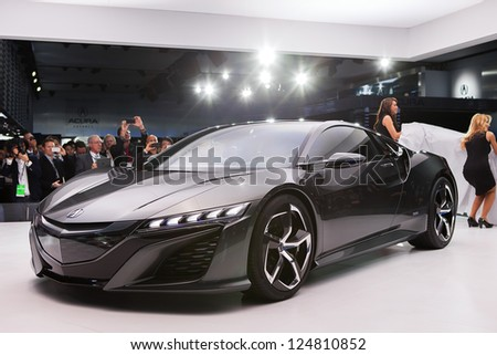DETROIT - JANUARY 15 : Spokesmodels unveil the new Acura NSX Concept II at The North American International Auto Show  January 15, 2013 in Detroit, Michigan.