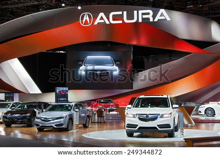 DETROIT - JANUARY 15: The Acura display January 15th, 2015 at the 2015 North American International Auto Show in Detroit, Michigan. - stock photo