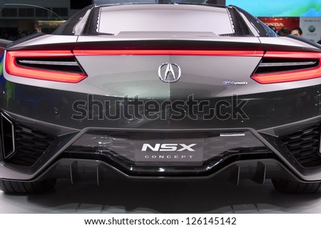 DETROIT - JANUARY 27 :The Acura NSX Concept at The North American International Auto Show January 27, 2013 in Detroit, Michigan. - stock photo