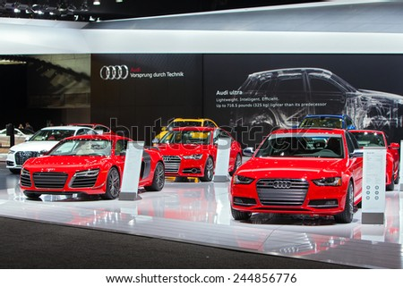DETROIT - JANUARY 15: The Audi display January 15th, 2015 at the 2015 North American International Auto Show in Detroit, Michigan. - stock photo
