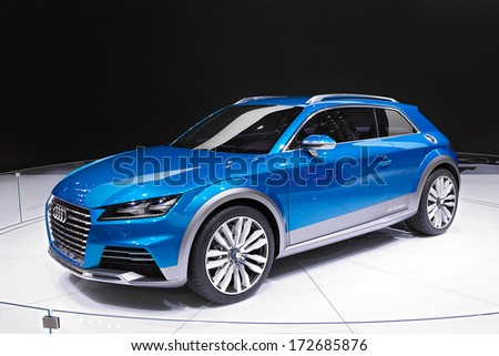 DETROIT - JANUARY 16 : The Audi E-Tron All Shooting Brake Concept on display at the North American International Auto Show media preview  January 16, 2014 in Detroit, Michigan. - stock photo