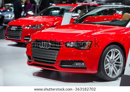 DETROIT - JANUARY 13: The Audi S6 at the North American International Auto Show media preview January 13, 2016 in Detroit, Michigan. - stock photo