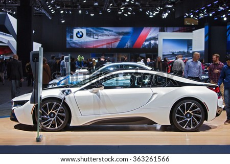 DETROIT - JANUARY 13: The 2016 BMW i8 on display at the North American International Auto Show media preview January 13, 2016 in Detroit, Michigan. - stock photo
