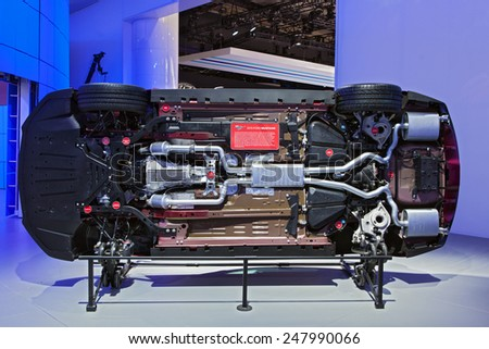 DETROIT - JANUARY 12: The bottom of a 2015 Ford Mustangon display January 12th, 2015 at the 2015 North American International Auto Show in Detroit, Michigan. - stock photo