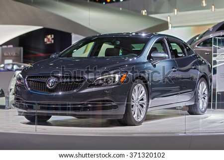 DETROIT - JANUARY 14: The 2017 Buick LaCrosse on display at the North American International Auto Show media preview January 14, 2016 in Detroit, Michigan. - stock photo