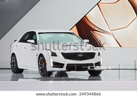 DETROIT - JANUARY 15: The 2016 Cadillac CTS-V on display January 15th, 2015 at the 2015 North American International Auto Show in Detroit, Michigan. - stock photo