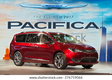 DETROIT - JANUARY 11: The 2017 Chrysler Pacifica on display at the North American International Auto Show media preview January 11, 2016 in Detroit, Michigan. - stock photo