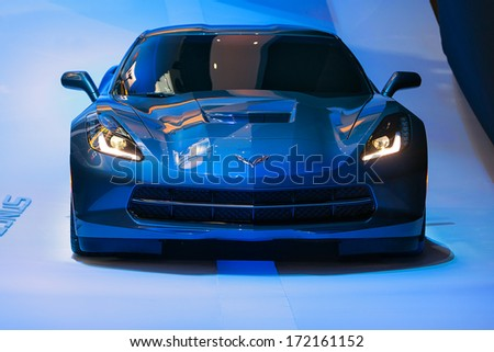 DETROIT - JANUARY 13 : The 2015 Corvette Stingray Z06 on display at the North American International Auto Show media preview  January 13, 2014 in Detroit, Michigan. - stock photo