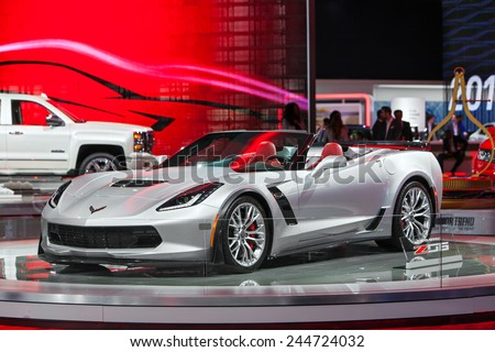 DETROIT - JANUARY 15: The Corvette Z06 convertible on display January 13th, 2015 at the 2015 North American International Auto Show in Detroit, Michigan. - stock photo