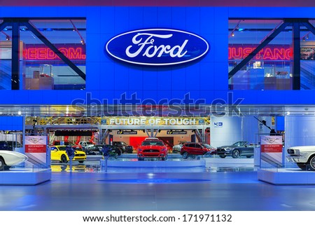 DETROIT - JANUARY 16 : The Ford display at the North American International Auto Show media preview  January 14, 2014 in Detroit, Michigan. - stock photo