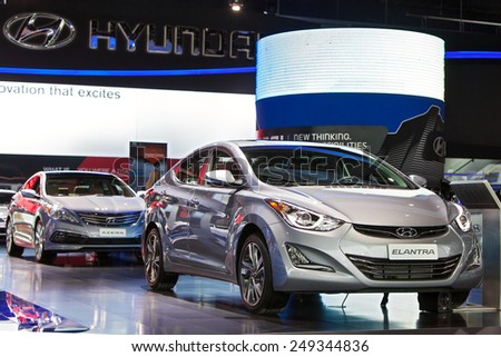 DETROIT - JANUARY 15: The Hyundai Elantra on display January 15th, 2015 at the 2015 North American International Auto Show in Detroit, Michigan. - stock photo