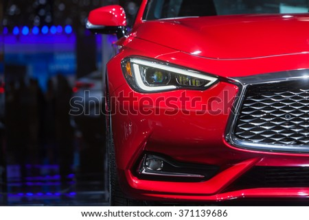 DETROIT - JANUARY 12: The 2016 Inifiniti Q60S on display at the North American International Auto Show media preview January 13, 2016 in Detroit, Michigan. - stock photo