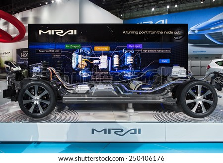 DETROIT - JANUARY 13: The internal workings of the new Toyota Mirai hydrogen car on display January 13th, 2015 at the 2015 North American International Auto Show in Detroit, Michigan. - stock photo