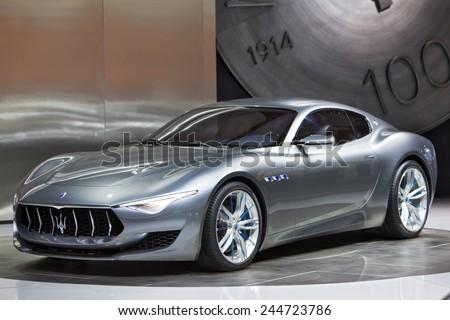 DETROIT - JANUARY 15: The Maserati Alfieri concept January 13th, 2015 at the 2015 North American International Auto Show in Detroit, Michigan. - stock photo