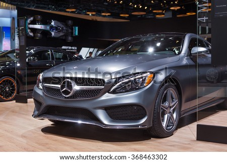 DETROIT - JANUARY 12: The Mercedes C300 4Matic Coupe on display at the North American International Auto Show media preview January 12, 2016 in Detroit, Michigan. - stock photo
