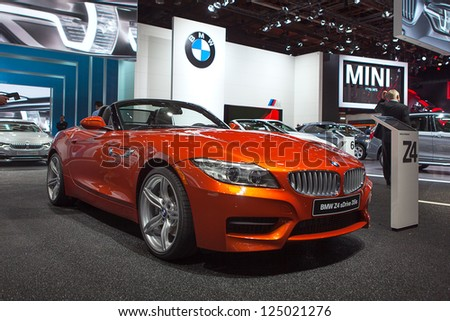 DETROIT - JANUARY 15 : The new BMW Z4 at The North American International Auto Show  January 15, 2013 in Detroit, Michigan. - stock photo