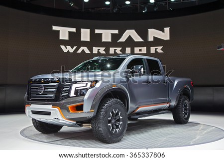 DETROIT - JANUARY 12: The Nissan Titan Warrior concept on display at the North American International Auto Show media preview January 12, 2016 in Detroit, Michigan. - stock photo