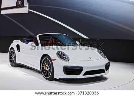 DETROIT - JANUARY 11: The 2016 Porsche 911 GT3 on display at the North American International Auto Show media preview January 11, 2016 in Detroit, Michigan. - stock photo