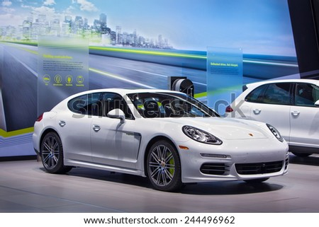 DETROIT - JANUARY 13: The 2015 Porsche Panamera Hybrid on display January 13th, 2015 at the 2015 North American International Auto Show in Detroit, Michigan. - stock photo