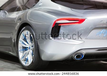 DETROIT - JANUARY 15:The rear quarter panel of the Maserati Alfieri prototype January 15th, 2015 at the 2015 North American International Auto Show in Detroit, Michigan. - stock photo