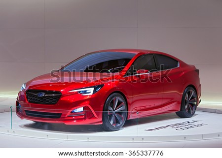 DETROIT - JANUARY 12: The Subaru Impreza Concept on display at the North American International Auto Show media preview January 12, 2016 in Detroit, Michigan. - stock photo