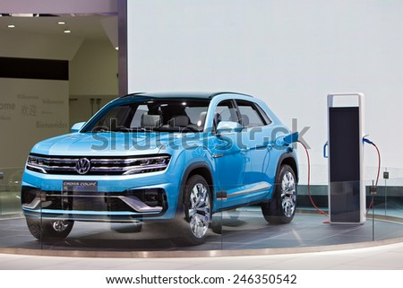 DETROIT - JANUARY 15: The Volkswagen Cross Coupe electric concept on display January 15th, 2015 at the 2015 North American International Auto Show in Detroit, Michigan. - stock photo