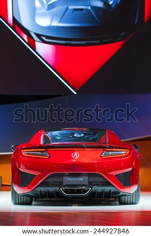 DETROIT - JANUARY 12: The world debut of the production Acura NSX supercar January 12th, 2015 at the 2015 North American International Auto Show in Detroit, Michigan. - stock photo