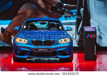 DETROIT - JANUARY 13: The World premiere of the BMW M2 Coupe at the North American International Auto Show media preview January 13, 2016 in Detroit, Michigan. - stock photo