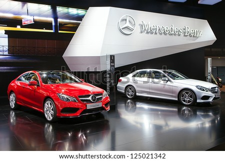 DETROIT - JANUARY 15 : The world premiere, of the new Mercedes Benz E Class Coupe at The North American International Auto Show  January 15, 2013 in Detroit, Michigan. - stock photo