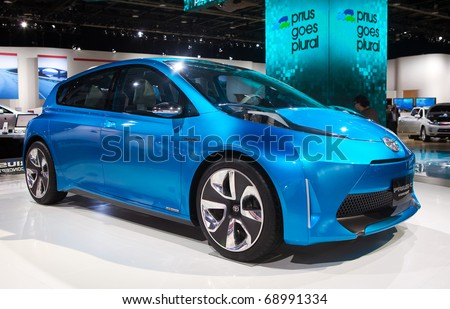 DETROIT - JANUARY 13: Toyota Prius concept at the 2011 North American International Auto Show Industry Preview on January 13, 2011 in Detroit, Michigan. - stock photo