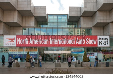 DETROIT - JULY 11 : The entrance to Cobo Hall for the 2013 North American International Auto Show January 11, 2013 in Detroit, Michigan.