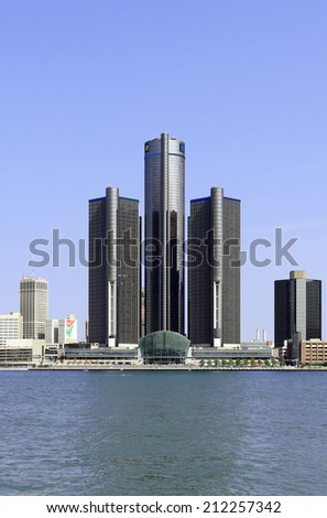 DETROIT  JULY 31: The General Motors World Headquarters building located in Detroit, Michigan on July 31, 2014. General Motors is an American multinational automobile corporation. - stock photo