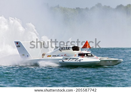 DETROIT - JULY 11: The Qatar hydroplane at the APBA Gold Cup July 11, 2014 on the Detroit River in Detroit, Michigan.