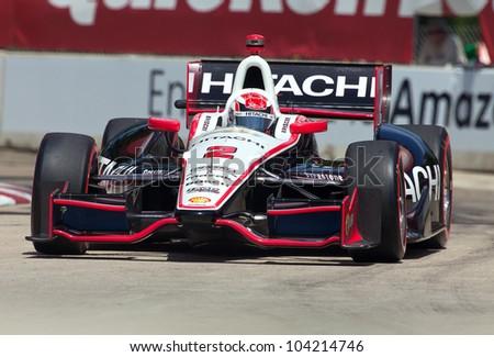 DETROIT - JUNE 2: The Hitachi Indy car at the 2012 Detroit Grand Prix on June 2, 2012 in Detroit, Michigan. - stock photo