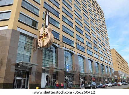 DETROIT, MI - DECEMBER 24: The Detroit, MI Hard Rock Cafe, shown on December 24, 2015, houses memorabilia from many Michigan musicians.  - stock photo