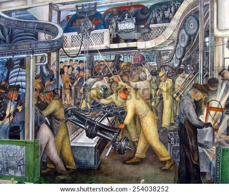 DETROIT, MI - JANUARY 2015: Diego Rivera mural of an automotive assembly line at the Detroit Institute of Arts. - stock photo