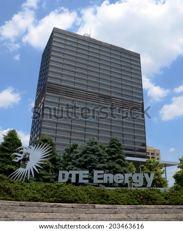 DETROIT, MI - JULY 6: DTE Energy, whose headquarters in Detroit  are shown on July 6, 2014, dedicated $1 million to support 500 summer jobs for Michigan teens and young adults through its foundation.  - stock photo